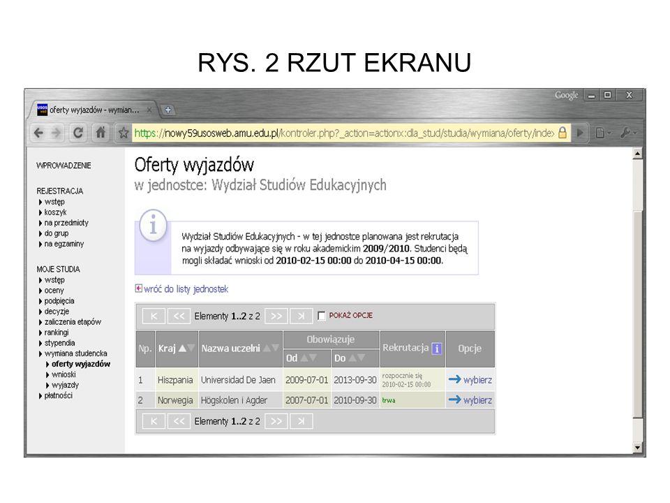 RYS. 2 RZUT EKRANU