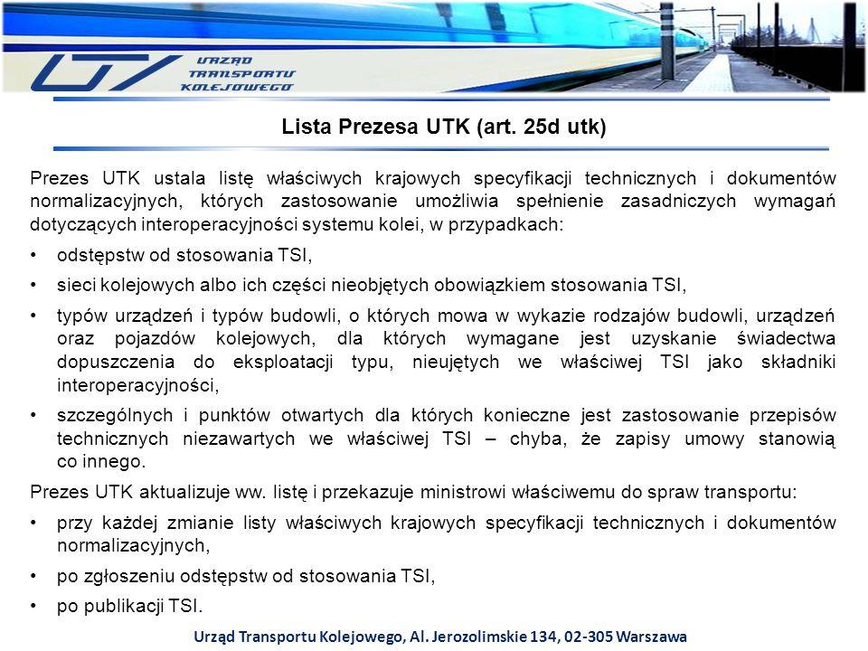 Lista Prezesa UTK (art. 25d utk)