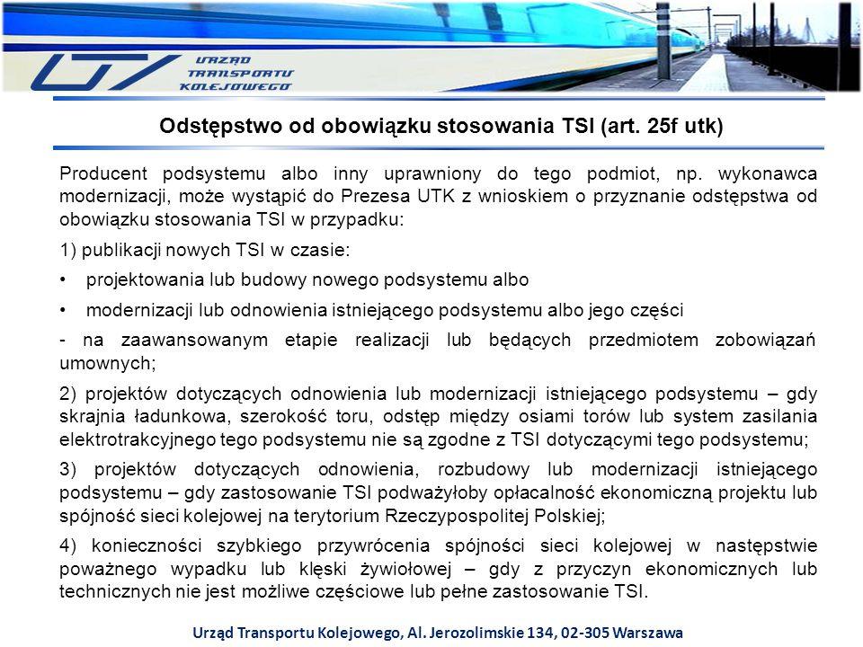 Odstępstwo od obowiązku stosowania TSI (art. 25f utk)