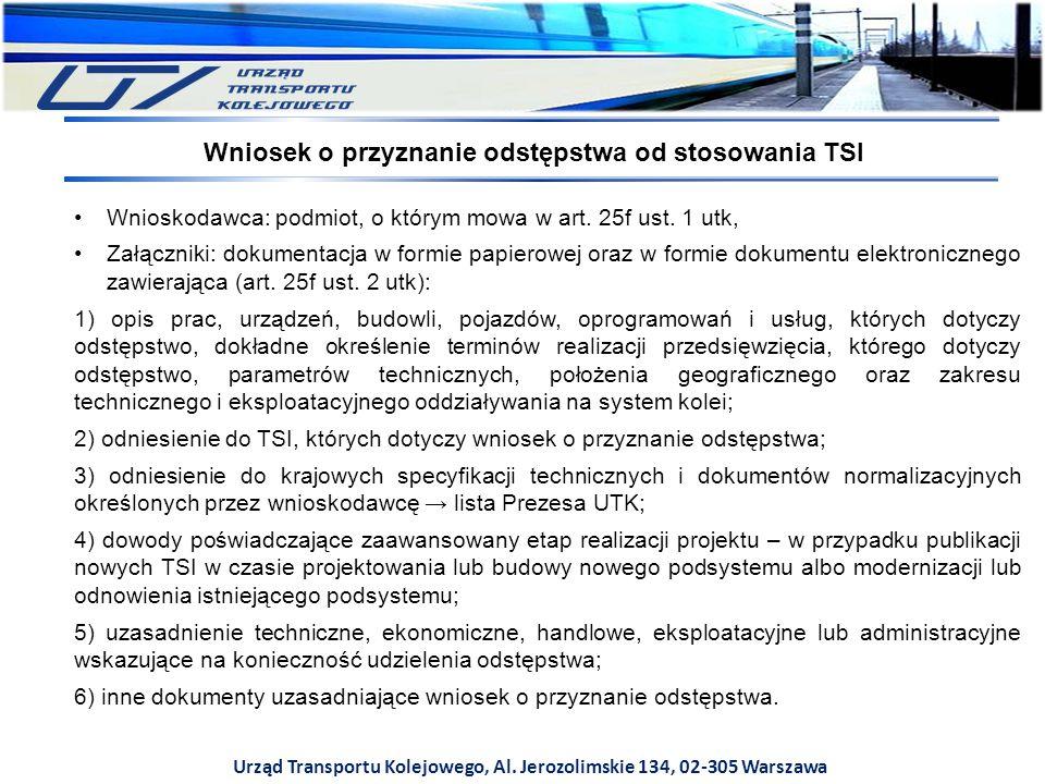 Wniosek o przyznanie odstępstwa od stosowania TSI