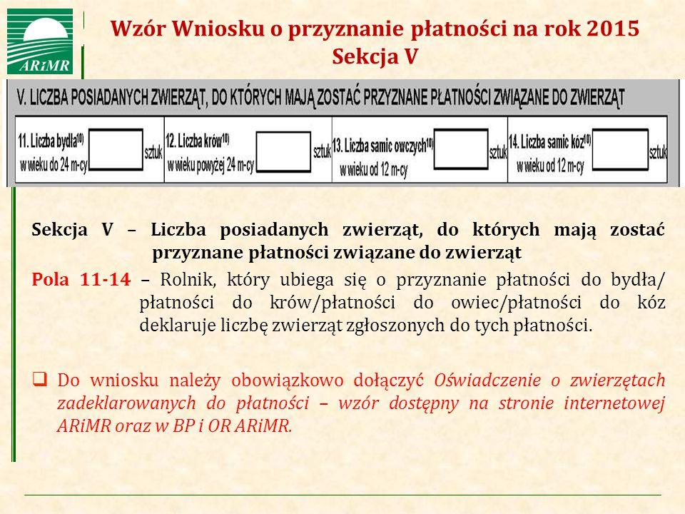 Wzór Wniosku o przyznanie płatności na rok 2015 Sekcja V