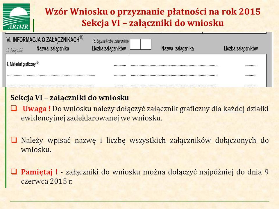 Wzór Wniosku o przyznanie płatności na rok 2015 Sekcja VI – załączniki do wniosku