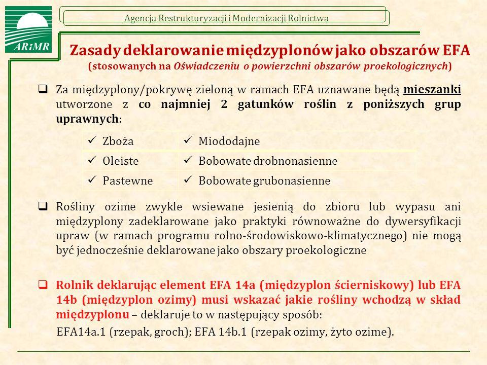 Zasady deklarowanie międzyplonów jako obszarów EFA (stosowanych na Oświadczeniu o powierzchni obszarów proekologicznych)