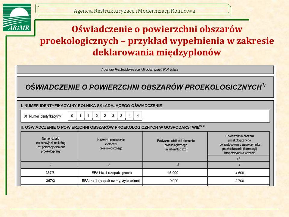 Oświadczenie o powierzchni obszarów proekologicznych – przykład wypełnienia w zakresie deklarowania międzyplonów