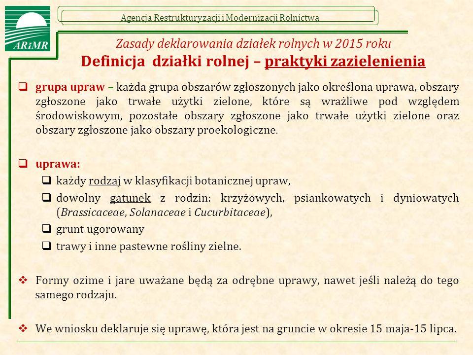 Zasady deklarowania działek rolnych w 2015 roku Definicja działki rolnej – praktyki zazielenienia