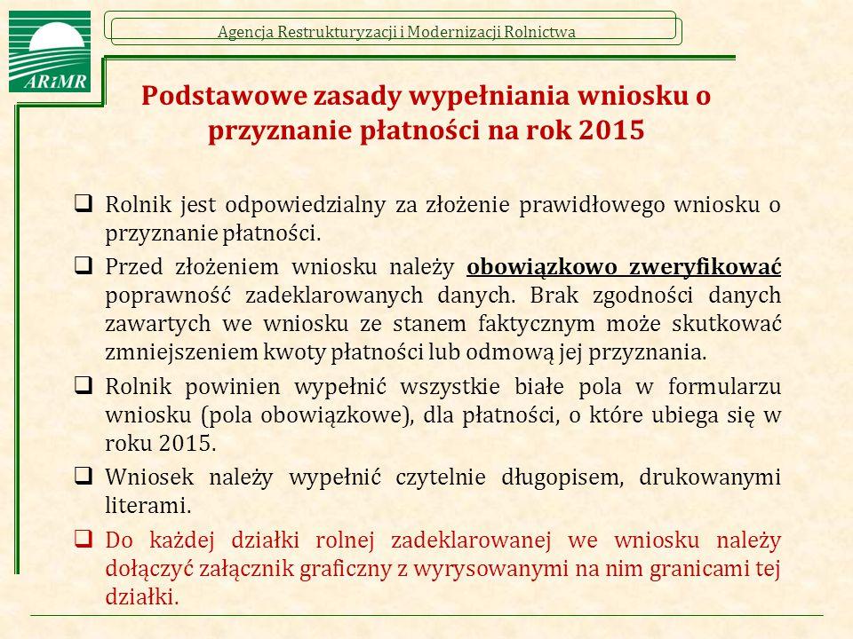 Podstawowe zasady wypełniania wniosku o przyznanie płatności na rok 2015