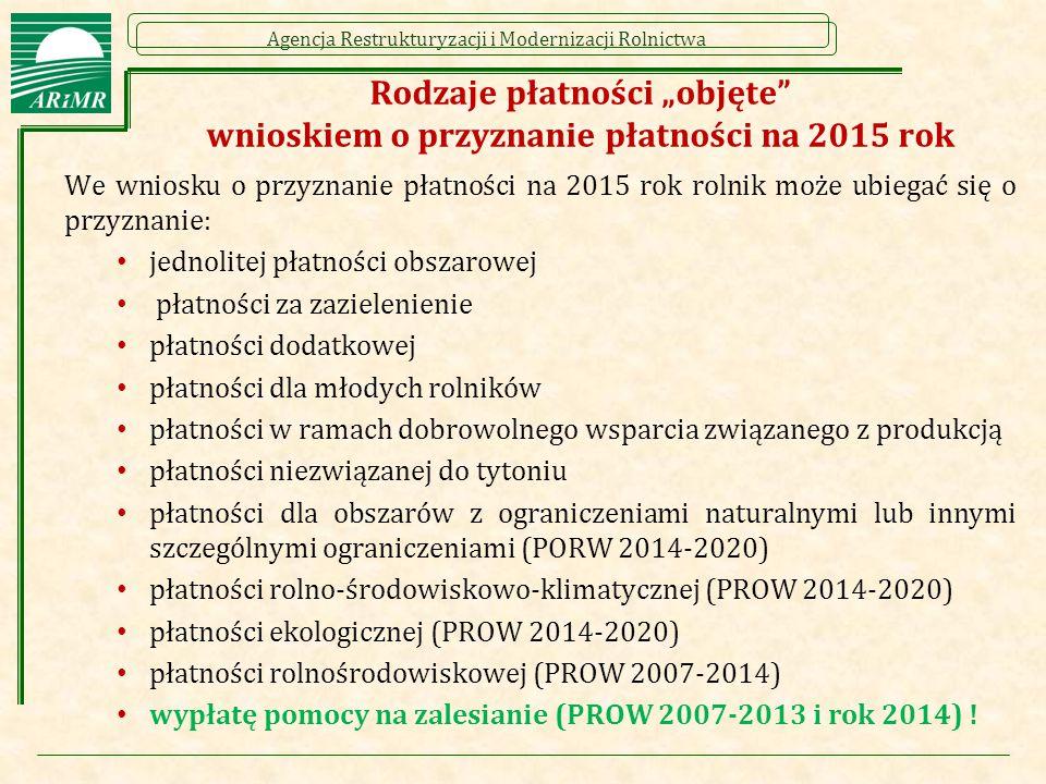 """Rodzaje płatności """"objęte wnioskiem o przyznanie płatności na 2015 rok"""