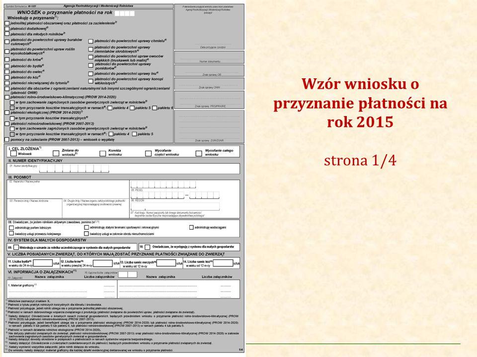 Wzór wniosku o przyznanie płatności na rok 2015 strona 1/4