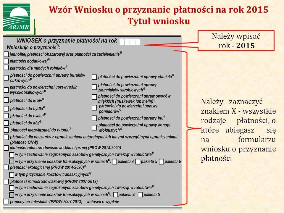 Wzór Wniosku o przyznanie płatności na rok 2015 Tytuł wniosku