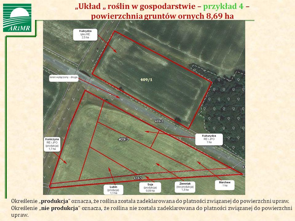 """""""Układ """" roślin w gospodarstwie – przykład 4 – powierzchnia gruntów ornych 8,69 ha"""
