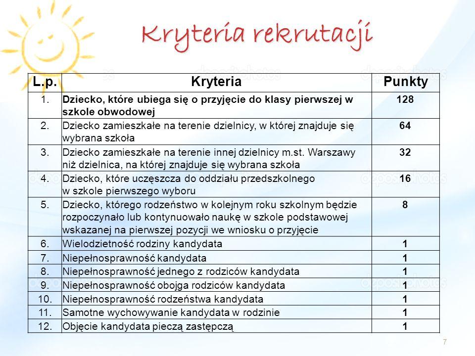 Kryteria rekrutacji L.p. Kryteria Punkty 1.