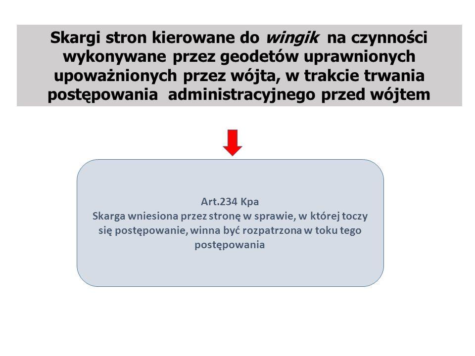 Skargi stron kierowane do wingik na czynności wykonywane przez geodetów uprawnionych upoważnionych przez wójta, w trakcie trwania postępowania administracyjnego przed wójtem