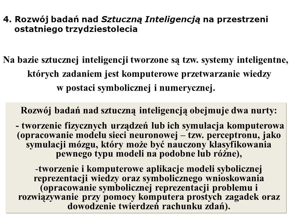 Rozwój badań nad sztuczną inteligencją obejmuje dwa nurty: