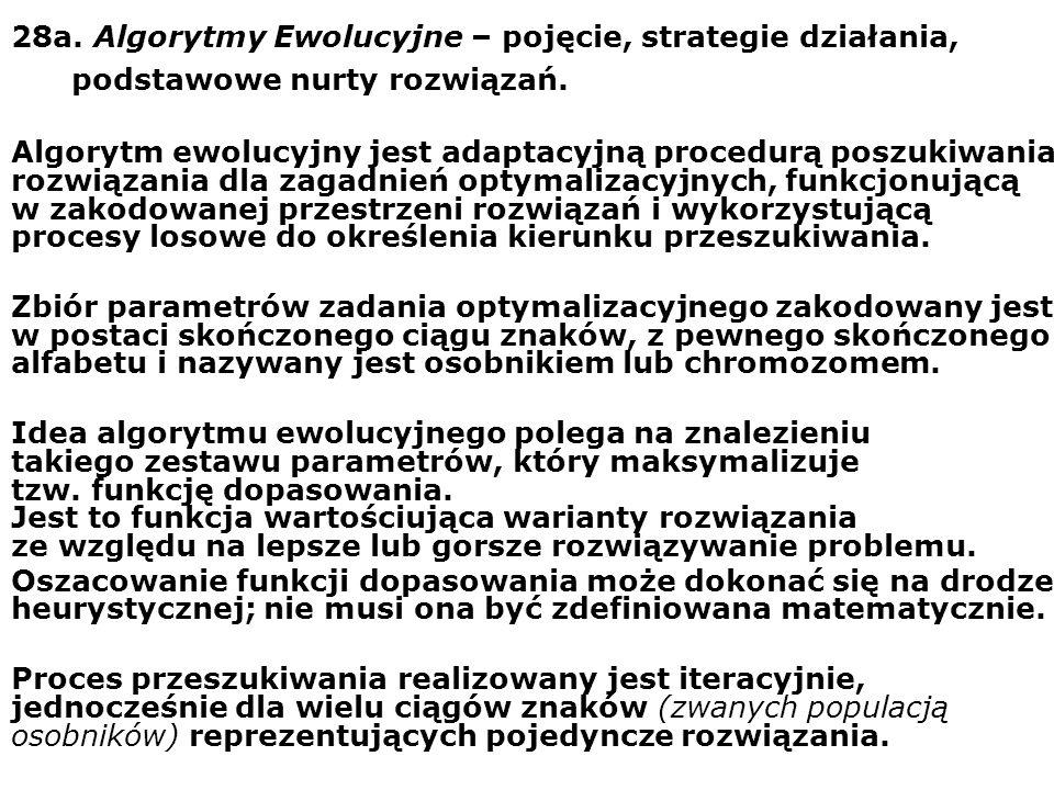 28a. Algorytmy Ewolucyjne – pojęcie, strategie działania,