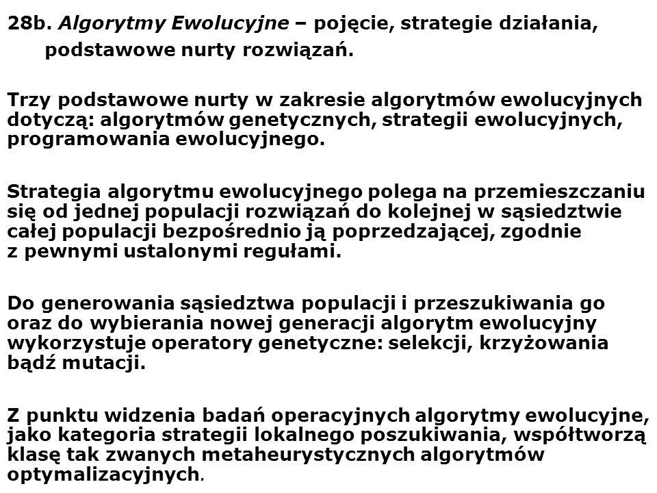 28b. Algorytmy Ewolucyjne – pojęcie, strategie działania,