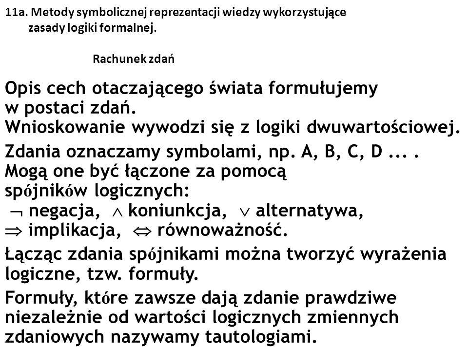 11a. Metody symbolicznej reprezentacji wiedzy wykorzystujące zasady logiki formalnej. Rachunek zdań