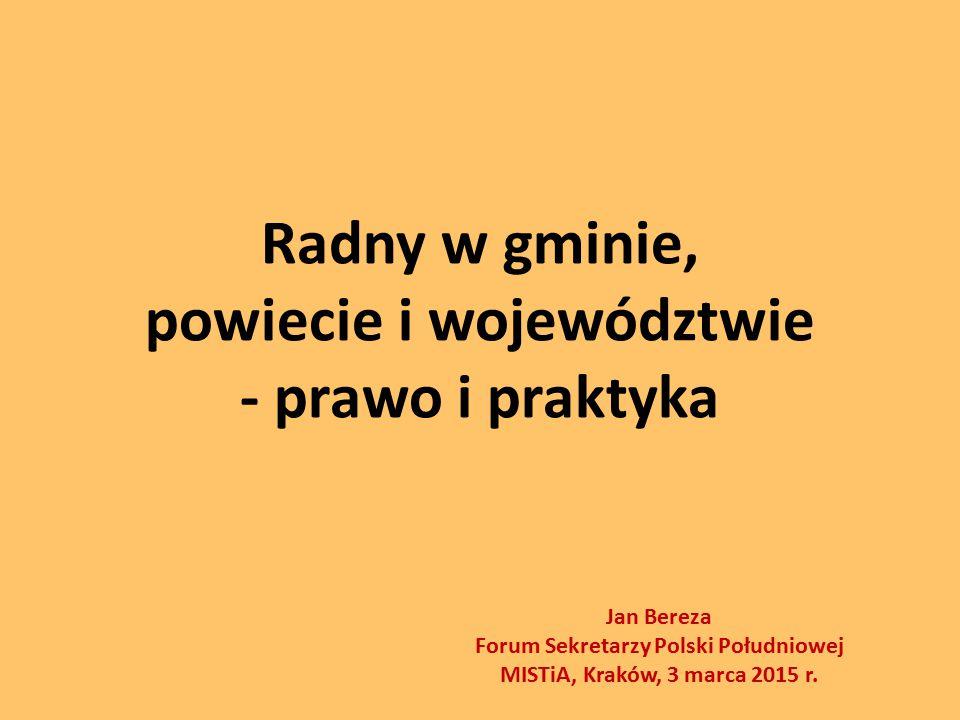 Radny w gminie, powiecie i województwie - prawo i praktyka