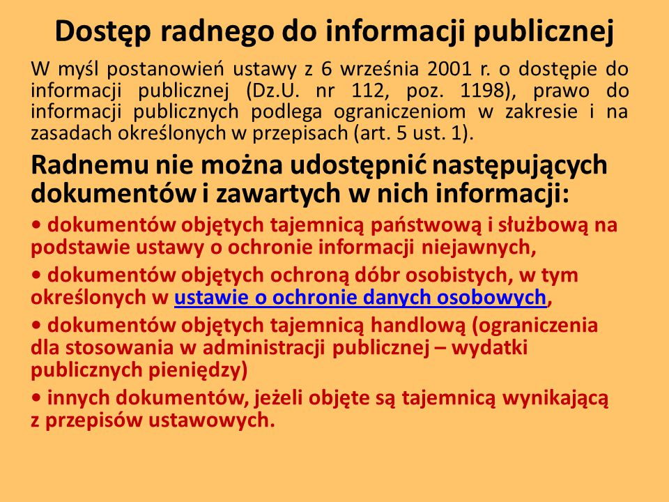 Dostęp radnego do informacji publicznej