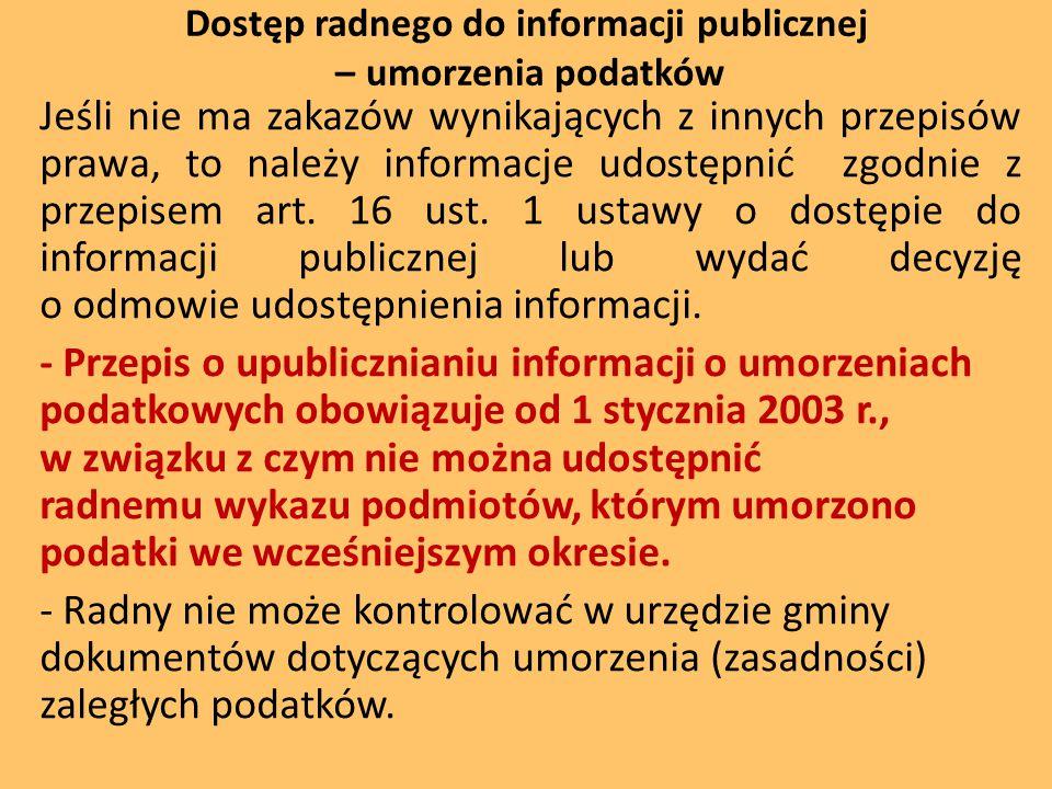 Dostęp radnego do informacji publicznej – umorzenia podatków