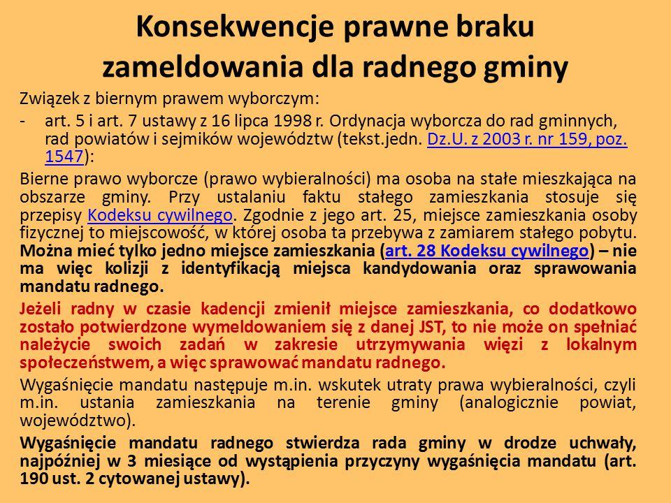 Konsekwencje prawne braku zameldowania dla radnego gminy