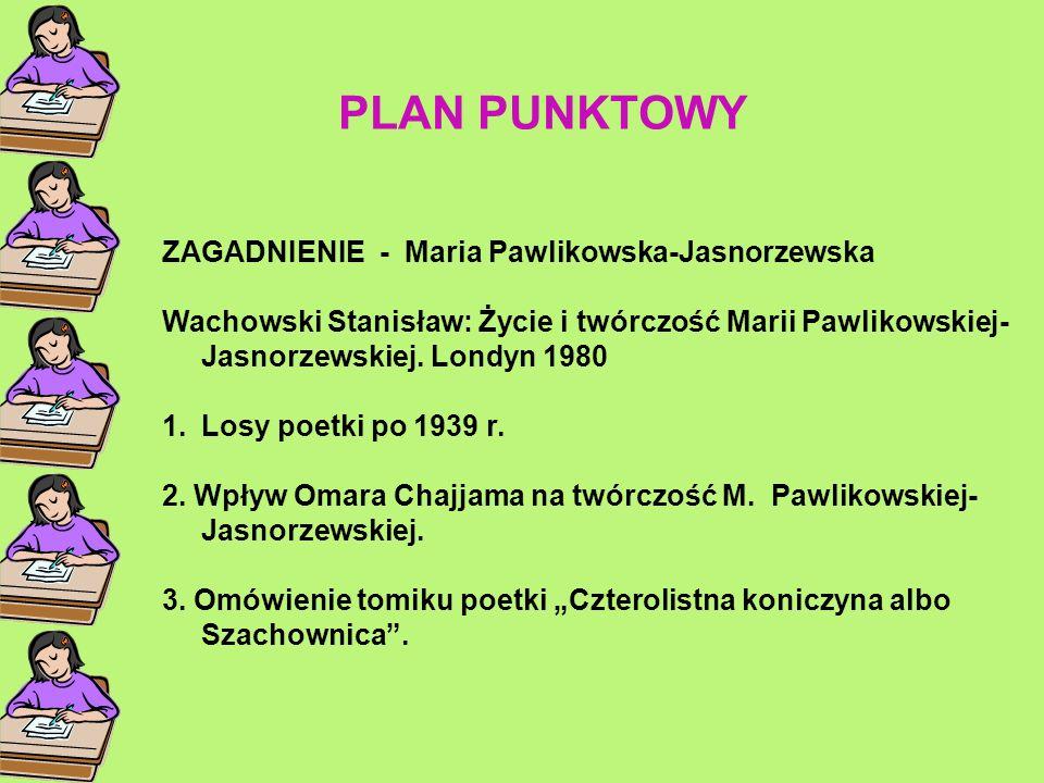 PLAN PUNKTOWY ZAGADNIENIE - Maria Pawlikowska-Jasnorzewska