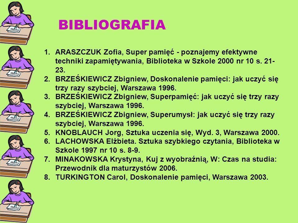 BIBLIOGRAFIA ARASZCZUK Zofia, Super pamięć - poznajemy efektywne techniki zapamiętywania, Biblioteka w Szkole 2000 nr 10 s. 21-23.