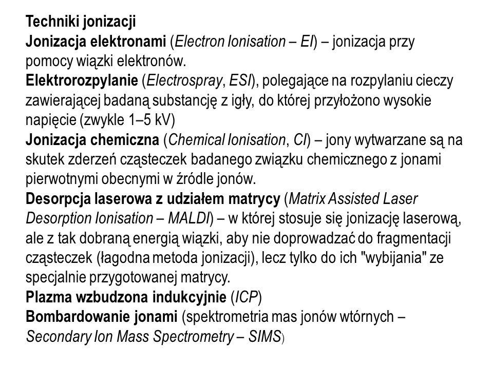 Techniki jonizacji Jonizacja elektronami (Electron Ionisation – EI) – jonizacja przy pomocy wiązki elektronów.