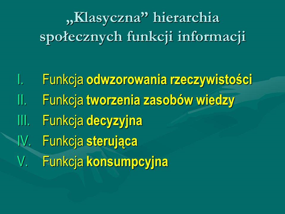 """""""Klasyczna hierarchia społecznych funkcji informacji"""