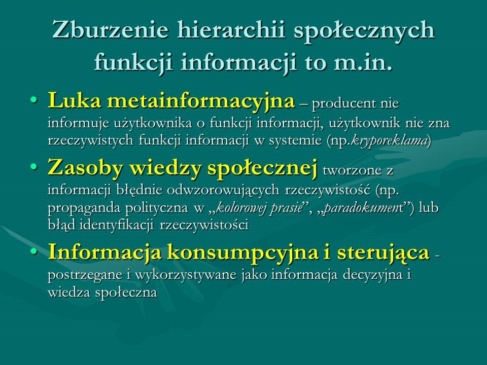 Zburzenie hierarchii społecznych funkcji informacji to m.in.
