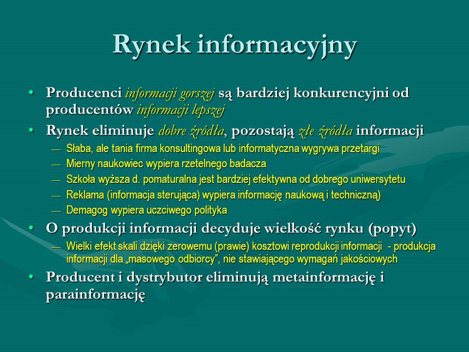 Rynek informacyjny Producenci informacji gorszej są bardziej konkurencyjni od producentów informacji lepszej.