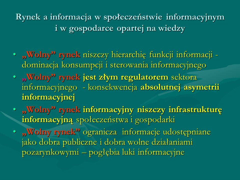 Rynek a informacja w społeczeństwie informacyjnym i w gospodarce opartej na wiedzy