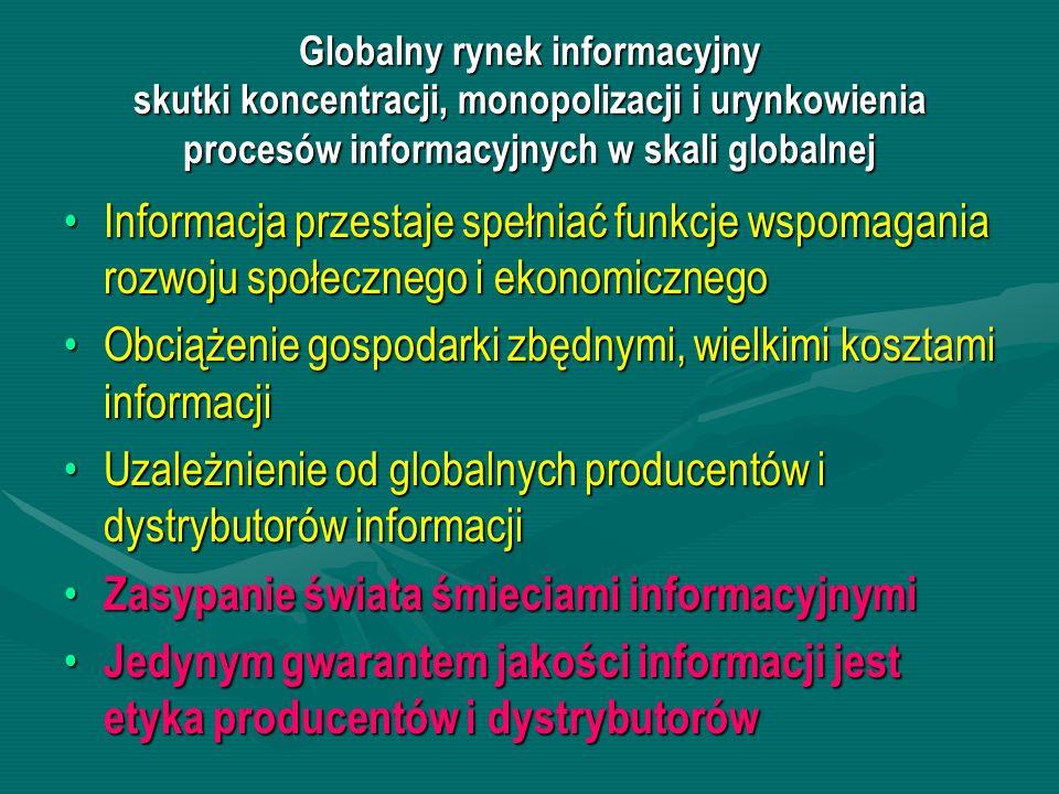 Obciążenie gospodarki zbędnymi, wielkimi kosztami informacji