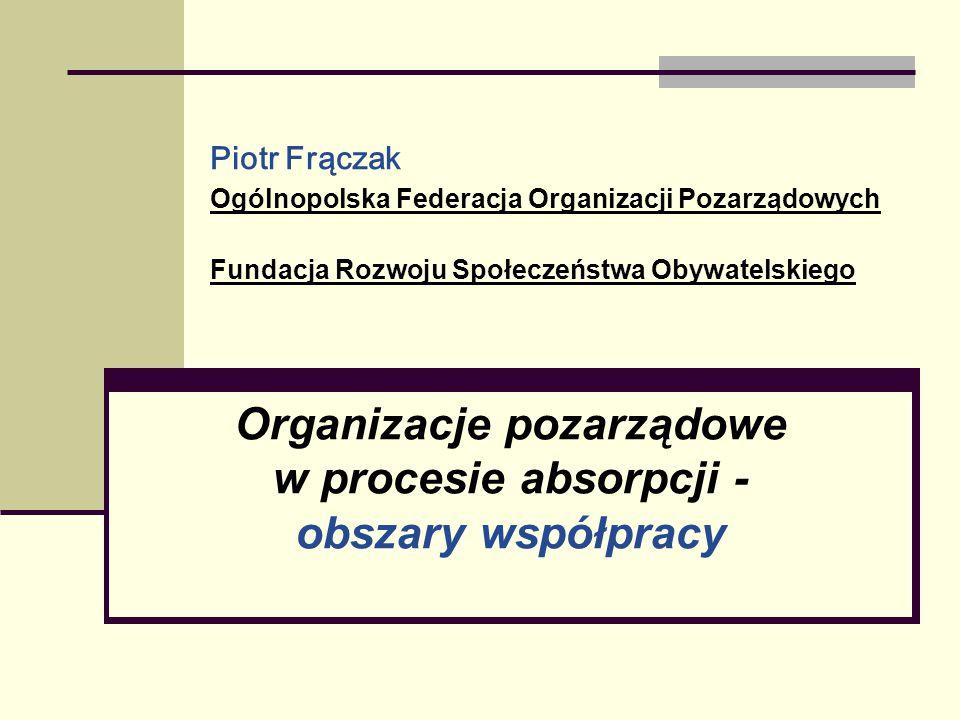 Organizacje pozarządowe w procesie absorpcji - obszary współpracy
