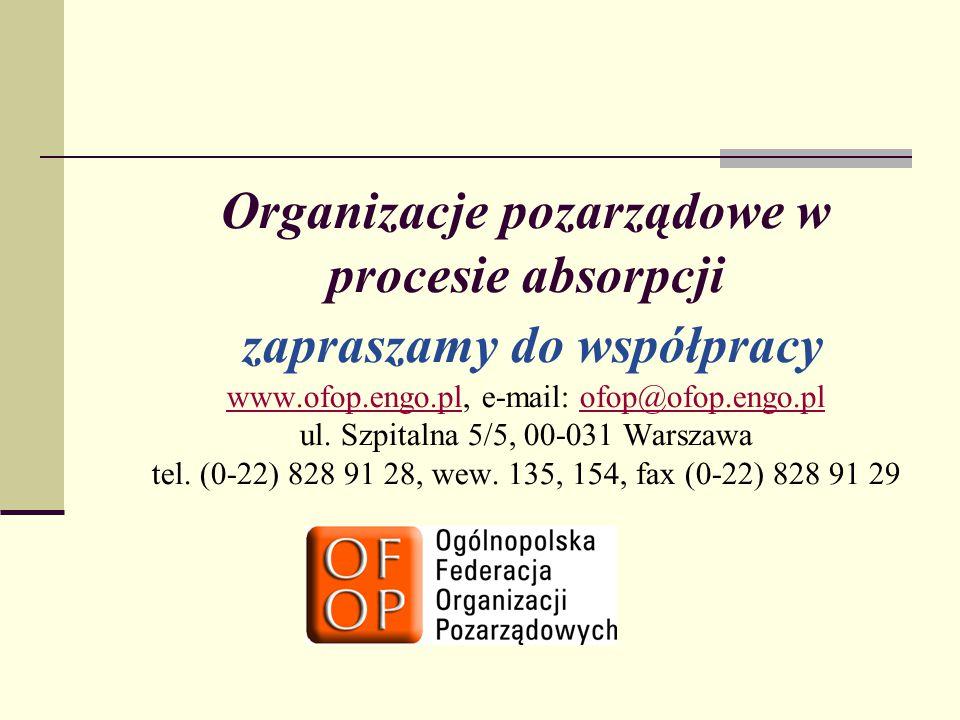 Organizacje pozarządowe w procesie absorpcji zapraszamy do współpracy www.ofop.engo.pl, e-mail: ofop@ofop.engo.pl ul.