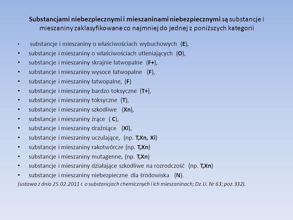 Substancjami niebezpiecznymi i mieszaninami niebezpiecznymi są substancje i mieszaniny zaklasyfikowane co najmniej do jednej z poniższych kategorii