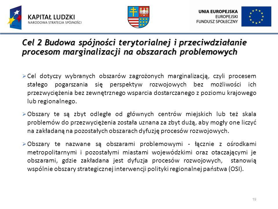 Cel 2 Budowa spójności terytorialnej i przeciwdziałanie procesom marginalizacji na obszarach problemowych