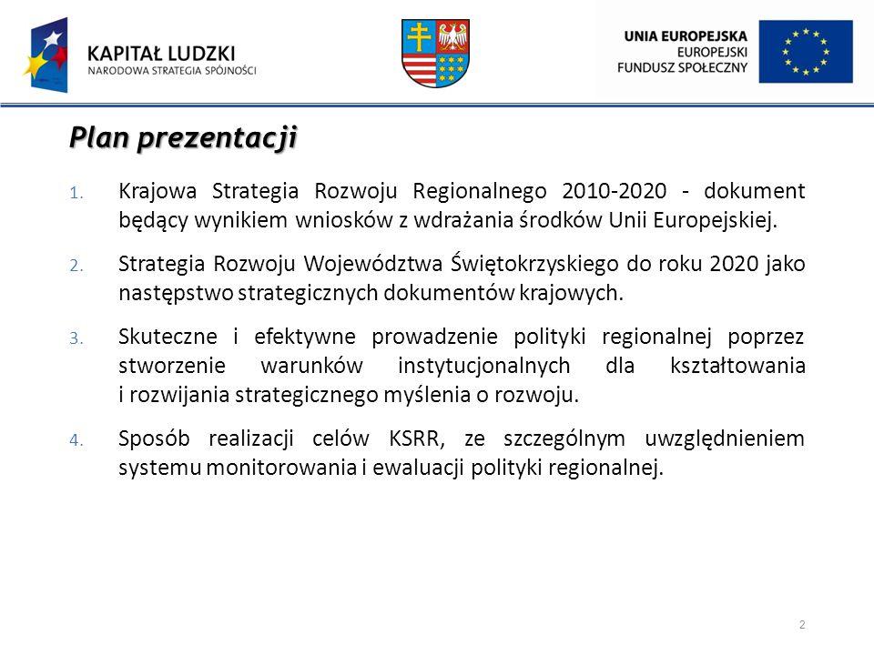Plan prezentacji Krajowa Strategia Rozwoju Regionalnego 2010-2020 - dokument będący wynikiem wniosków z wdrażania środków Unii Europejskiej.