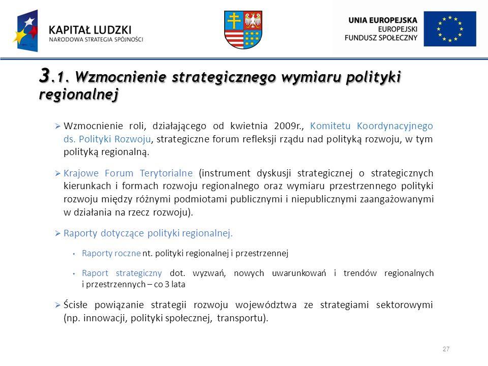 3.1. Wzmocnienie strategicznego wymiaru polityki regionalnej