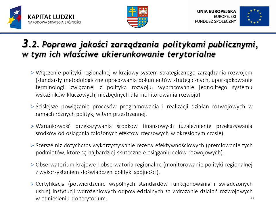 3.2. Poprawa jakości zarządzania politykami publicznymi, w tym ich właściwe ukierunkowanie terytorialne