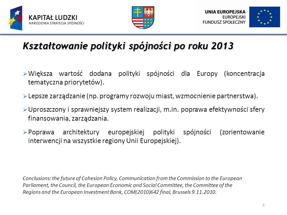 Kształtowanie polityki spójności po roku 2013