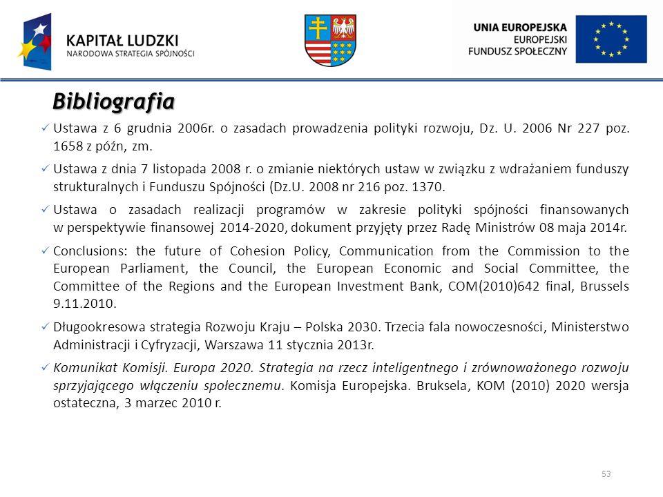 Bibliografia Ustawa z 6 grudnia 2006r. o zasadach prowadzenia polityki rozwoju, Dz. U. 2006 Nr 227 poz. 1658 z późn, zm.
