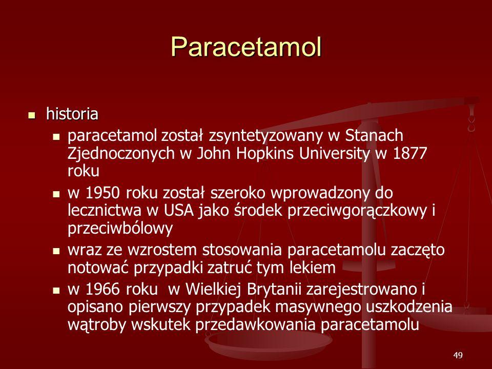 Paracetamol historia. paracetamol został zsyntetyzowany w Stanach Zjednoczonych w John Hopkins University w 1877 roku.