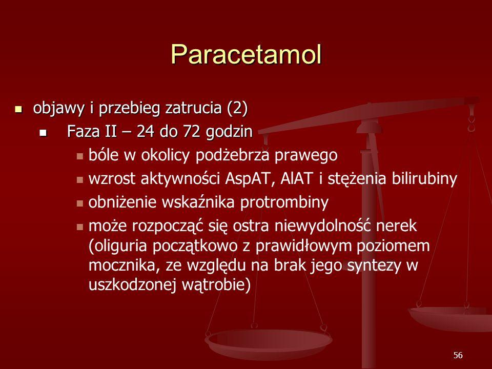 Paracetamol objawy i przebieg zatrucia (2) Faza II – 24 do 72 godzin