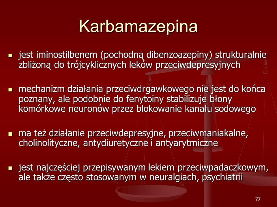 Karbamazepina jest iminostilbenem (pochodną dibenzoazepiny) strukturalnie zbliżoną do trójcyklicznych leków przeciwdepresyjnych.