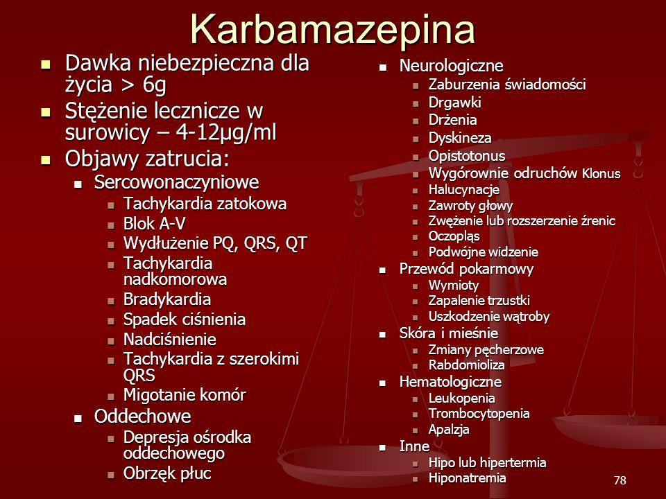 Karbamazepina Dawka niebezpieczna dla życia > 6g