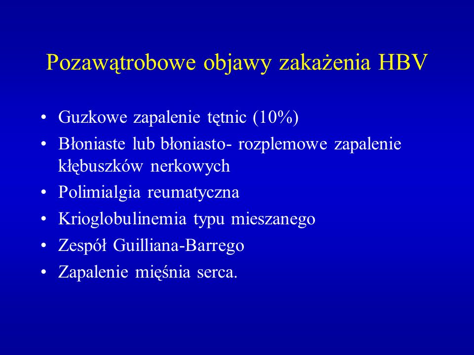 Pozawątrobowe objawy zakażenia HBV