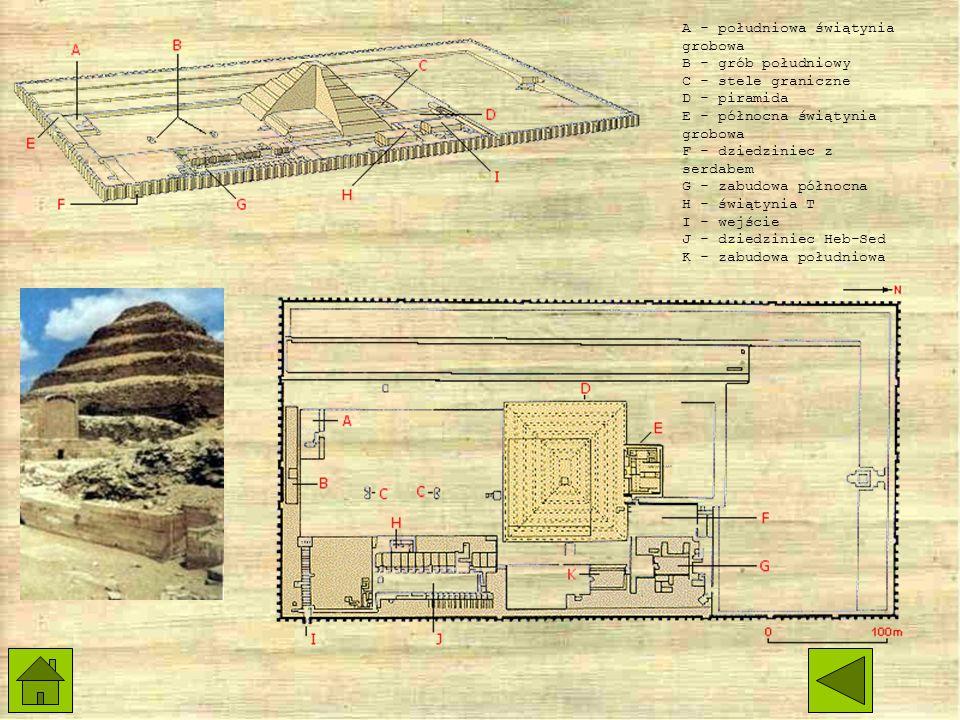 A - południowa świątynia grobowa B - grób południowy C - stele graniczne D - piramida E - północna świątynia grobowa F - dziedziniec z serdabem G - zabudowa północna H - świątynia T I - wejście J - dziedziniec Heb-Sed K - zabudowa południowa