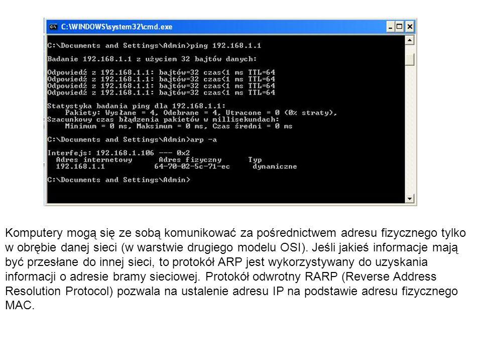Komputery mogą się ze sobą komunikować za pośrednictwem adresu fizycznego tylko w obrębie danej sieci (w warstwie drugiego modelu OSI).