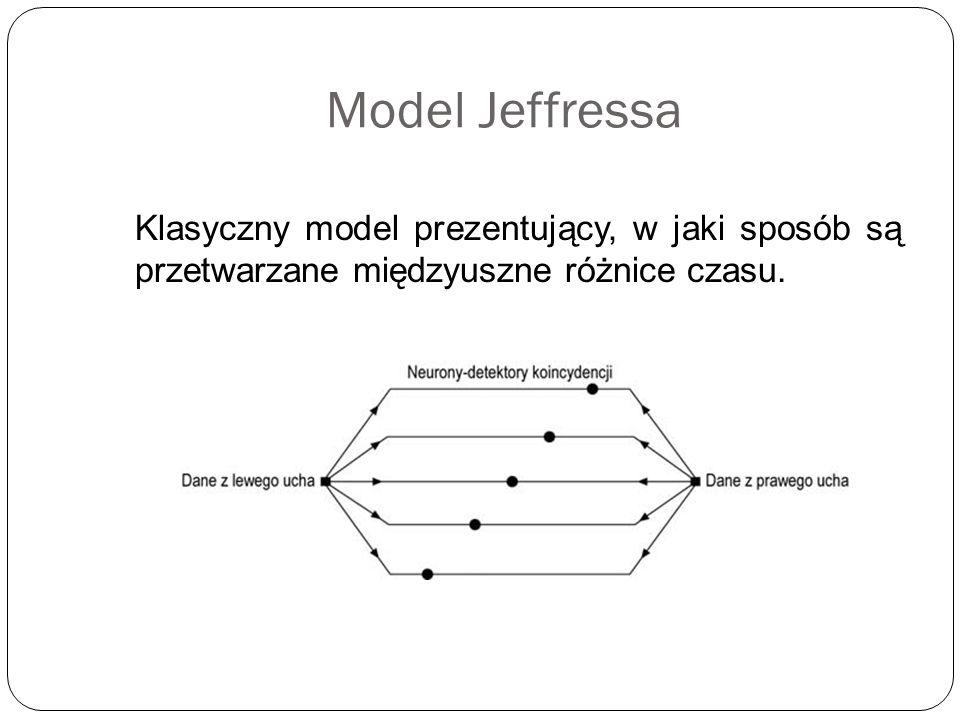 Model Jeffressa Klasyczny model prezentujący, w jaki sposób są przetwarzane międzyuszne różnice czasu.
