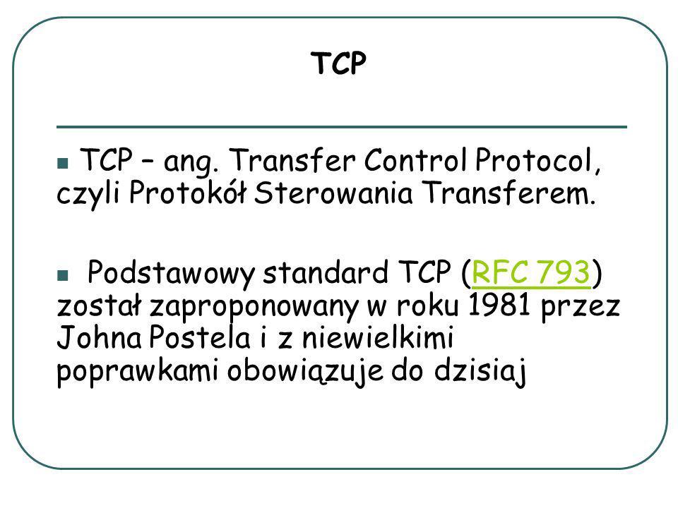 TCP TCP – ang. Transfer Control Protocol, czyli Protokół Sterowania Transferem.